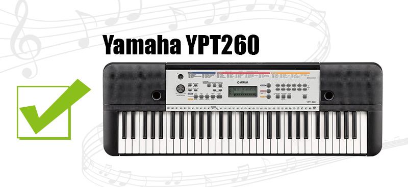 Bench and Power Adapter Yamaha YPT-260 Portable Keyboard Bundle with Stand