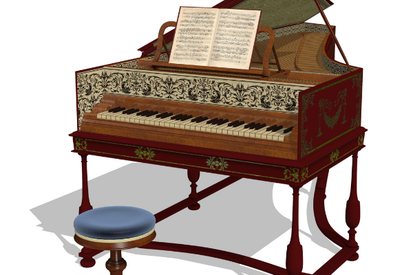 Front View of  Harpsichord - The Yamaha P71 has two harpsichord voices.